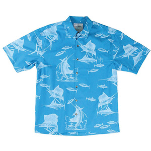 Men's Sailfish Etching Short-Sleeve Woven Shirt