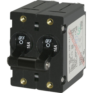 A-Series Black Toggle Circuit Breaker, Double Pole