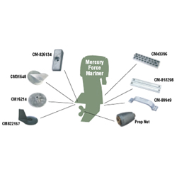Martyr Outboard Anode Kit, Magnesium, CM826134KITM