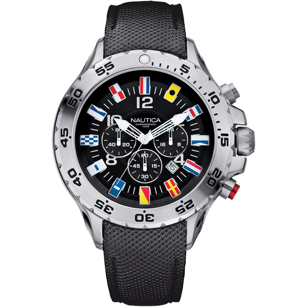 Nautica Men's NST Chronograph Black Flag Watch