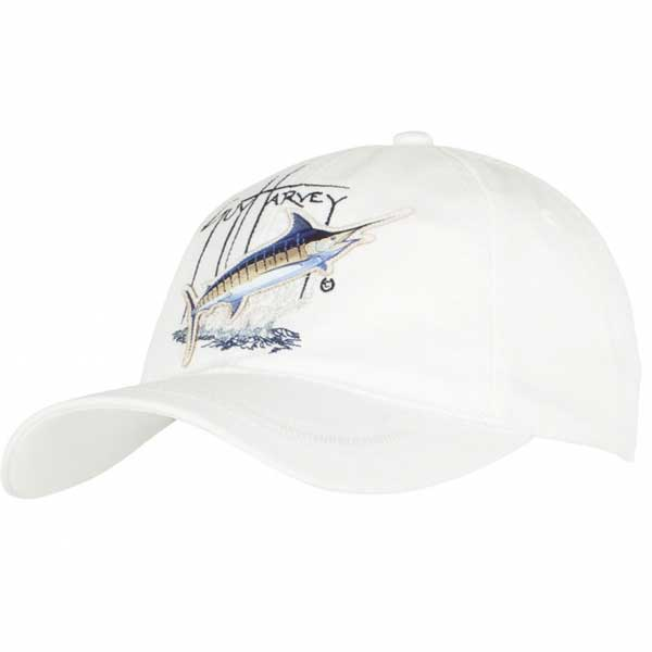Women's Blue Marlin Applique Hat, White