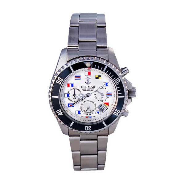 Del Mar Men's White Nautical Flag Dial Chronograph Watch