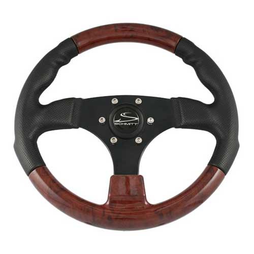Schmitt Marine Steering Steering Wheel, Black w/ Burlwood Inserts