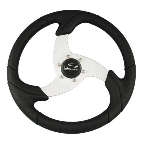 Schmitt Marine Steering Steering Wheel, Black w/ Brushed Aluminum Spoke