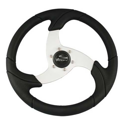 Schmitt Marine Steering Steering Wheel, Black w/ Brushed Aluminum Spoke