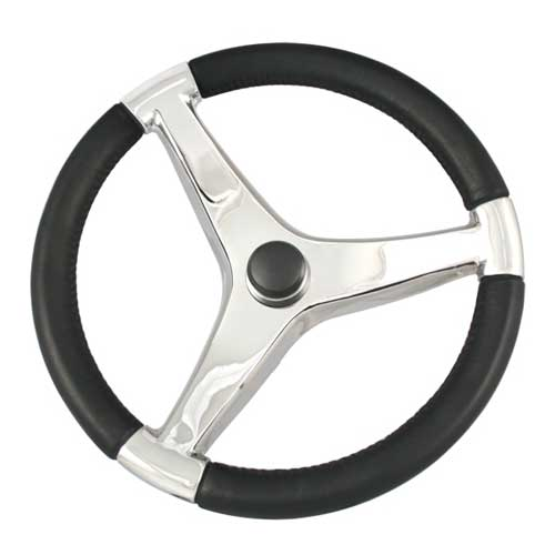 Schmitt Marine Steering Steering Wheel, Black w/ Stainless Steel Spoke