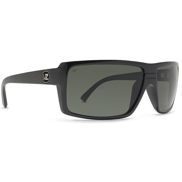 Vonzipper Snark Sunglasses, Glossy Black/gray Frames with Gray Polarized Lenses