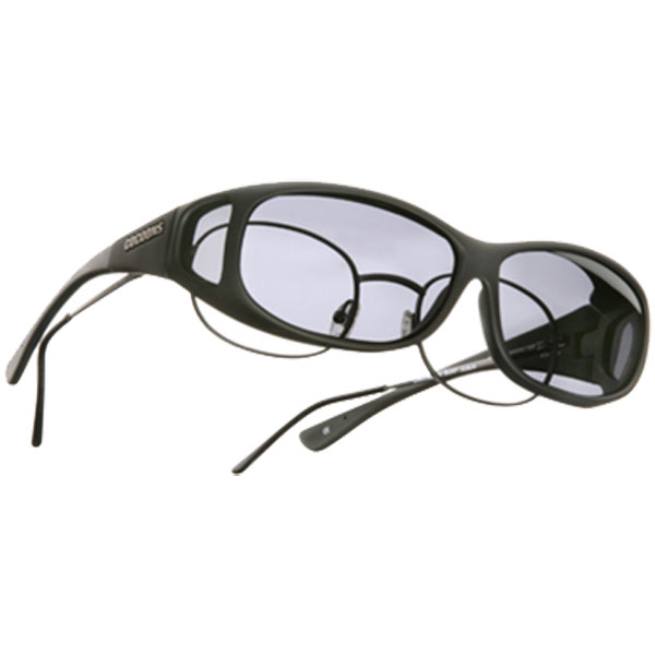 Mini Slim Fitover Sunglasses, Black Frames with Gray Lenses