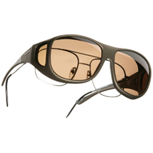 Cocoons Pilot Fitover Sunglasses, Sand Frames with Amber Lenses Tan