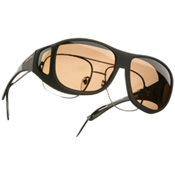 Cocoons Pilot Fitover Sunglasses, Black/amber Frames with Amber Lenses