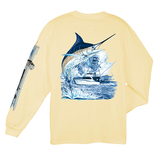 Men's Marlin Boat Long Sleeve T-Shirt