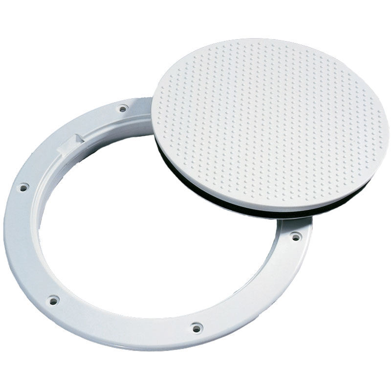 Beckson Marine 6 Smooth Pry-Out Deck Plate, 8-1/8 Flange, 6-1/2 Cutout, White/Clear
