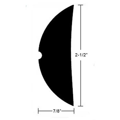 TACO Rigid Vinyl Rubrail - 2-1/2 H x 7/8 W