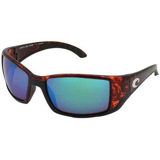 Blackfin Sunglasses, Shiny Tortoise Frames with Costa 580 Green Mirror Glass Lenses