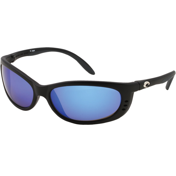 Fathom Sunglasses, Matte Black Frames with Costa 580 Blue Mirror Glass Lenses