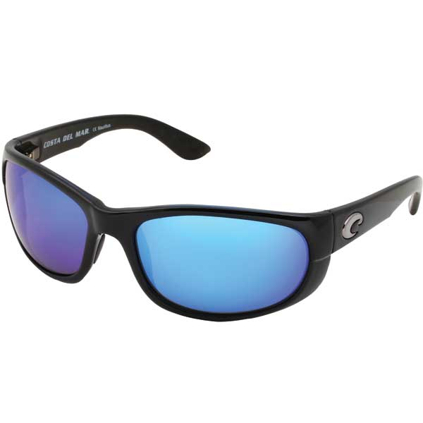 Howler Sunglasses, Shiny Black Frames with Costa 400 Black_blue Mirror Glass Lenses