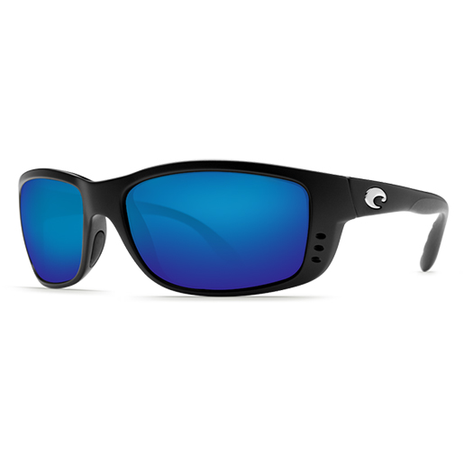 Zane Sunglasses, Matte Black Frames with Costa 400 Blue Mirror Glass Lenses
