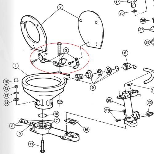 Jabsco Toilet Seat Lid Hinge Set West Marine