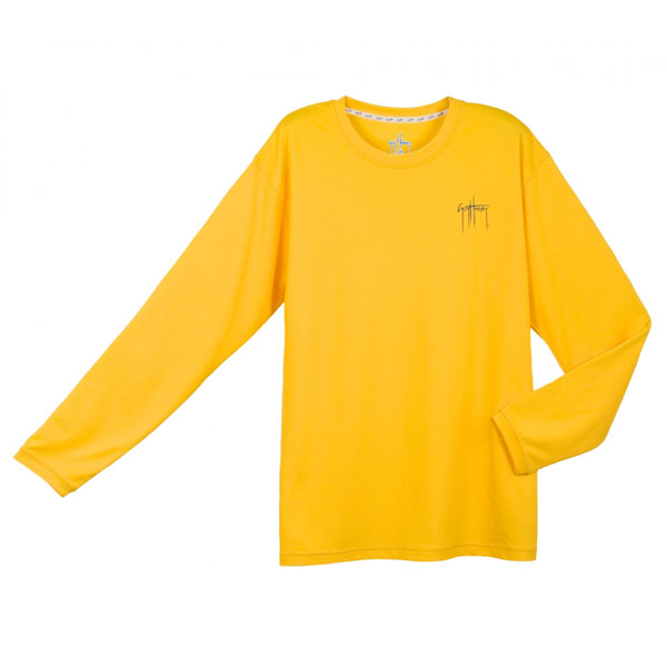 Men's Long Sleeve Tech Tee, Yellow, M