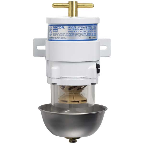 Racor Marine Fuel Filter/Water Separator, 60 GPH (341 LPH), 2 Micron, 7/8-14 UNF (SAE J1926), 15 PSI, Shielded See-thru Polymer Bowl Sale $249.99 SKU: 108748 ID# 500MA2 UPC# 706672000637 :