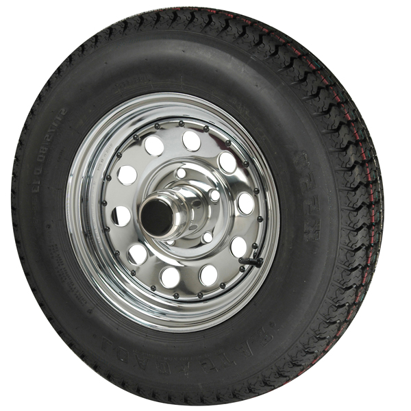 Trailer Tires & Wheels - Modular Chrome, 15 x 6 Rim, 5 x 4.5 Bolt, 3.19 Hole, ST205/75D x 15, Bias, 1820 Capacity