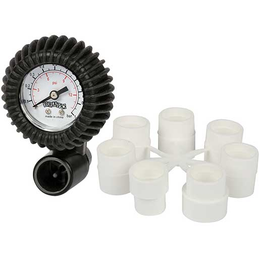 Bravo Inflatable Boat Pressure Gauge with Hose Adapters