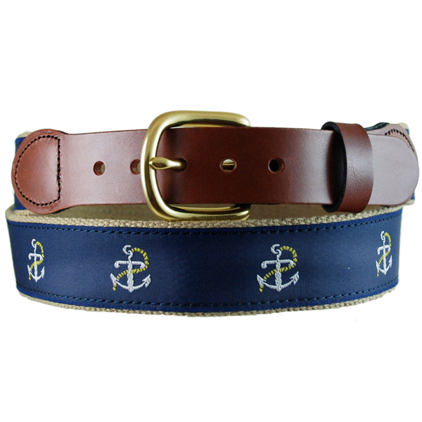 Leather Man Men's Anchor Leather Tab Belt, Khaki, 34