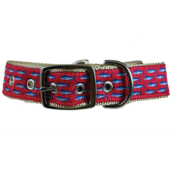 Mini Marlins Dog Collar, Khaki/Cherry, M