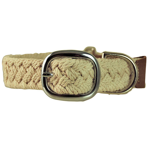 Macrame Dog Collar, Natural, XS