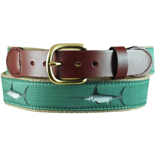 Leather Man Men's Green Swordfish Leather Tab Belt, Khaki, 38