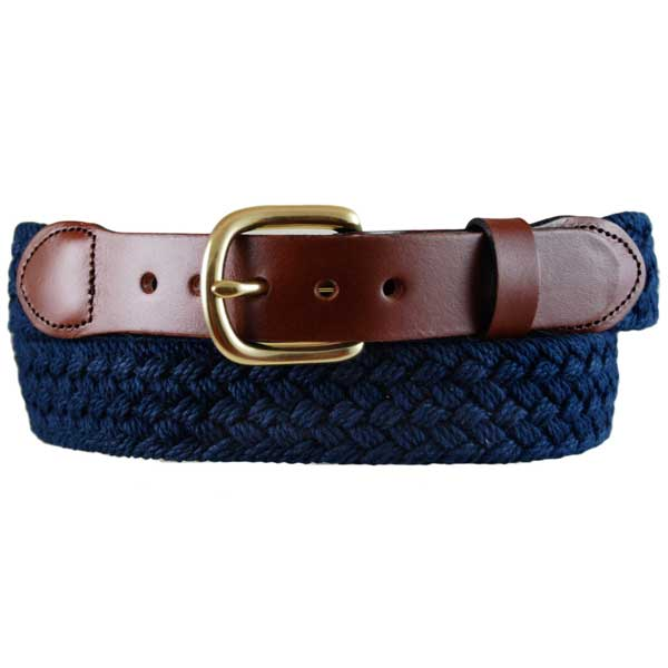 Leather Man Men's Macramer Leather Tab Belt, Navy, 40