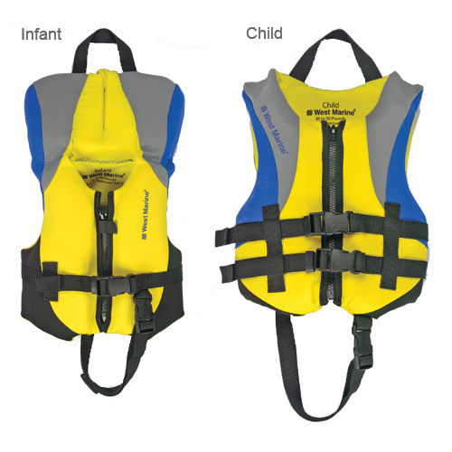 West Marine Deluxe Kids' Neoprene Life Vest, Child, 30-50lbs., Type Iii