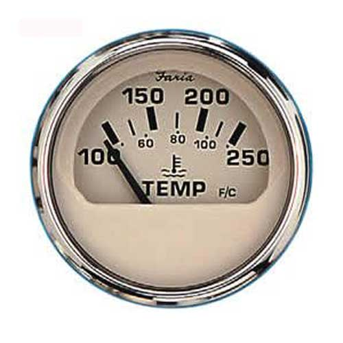 Faria Instruments Water Temperature Gauge - Euro Beige Stainless Steel - 100-250F