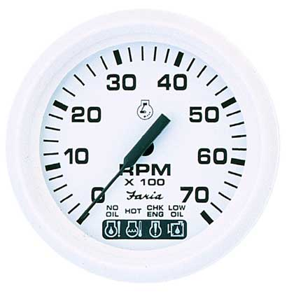 Faria Instruments Tachometer/OMC System Check, Dress White