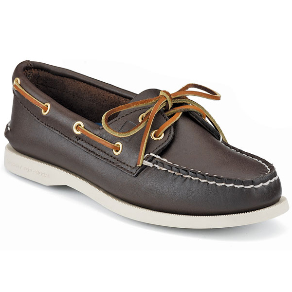 Sperry Womens Authentic Original Boat Mocs, Brown, 8.5