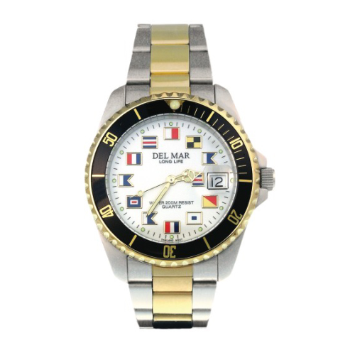 Del Mar Men's Nautical Dial Sport Watch Silver/gold