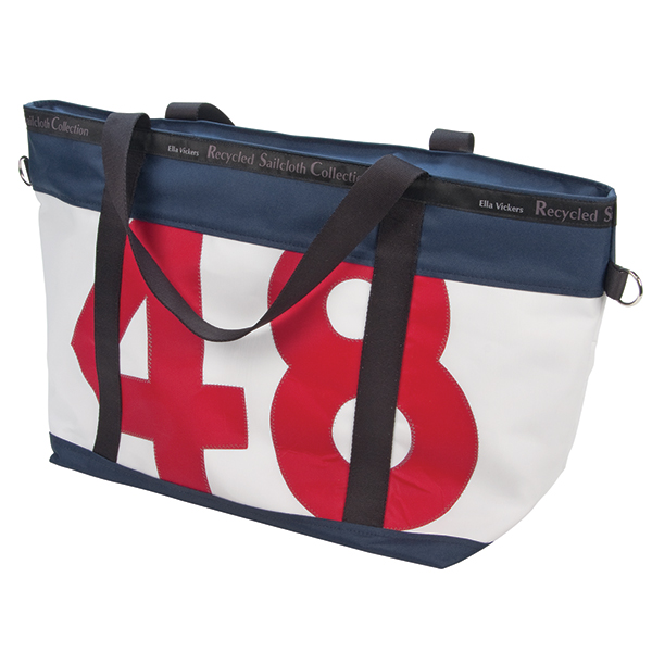 Large Zip Tote, Navy Trim with Red Number