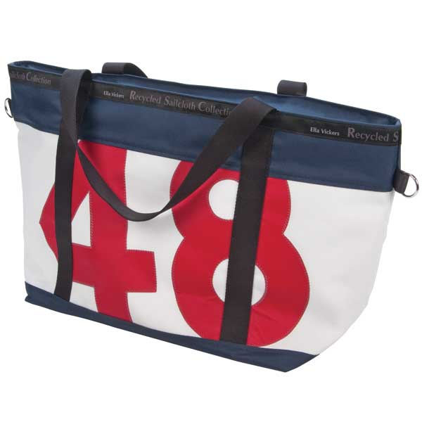 Ella Vickers Medium Zip Tote, Navy Trim with Red Number Navy/red