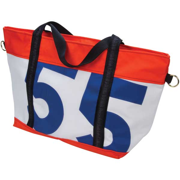 Ella Vickers Medium Zip Tote, Orange Trim with Orange/blue Number