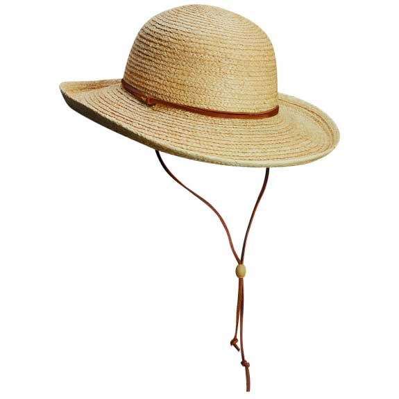 Women's Round Crown Raffia Hat, Natural, S