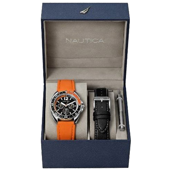 Sport Ring Multifunction Box Set Watch, Black/Orange