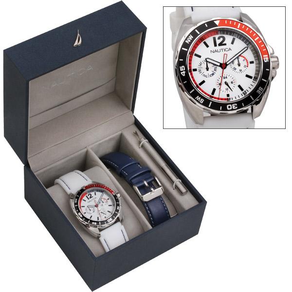 Nautica Chronograph Watch Box Set, White/navy Sale $99.00 SKU: 11514684 ID# N09907G UPC# 656086039108 :