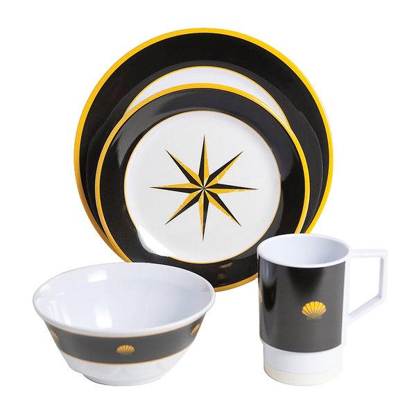 Galleyware Black Compass 16 Piece Dinnerware Set