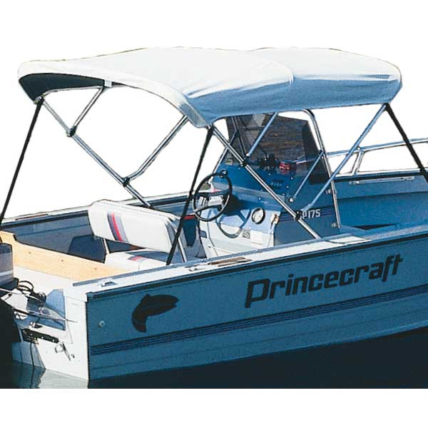 Taylor Made Bimini Boa Top No Boot, White Vinyl Bimini - 6'L x 54H x 85-90W