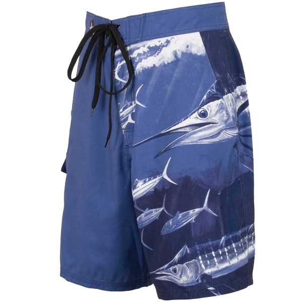 Guy Harvey Men's Twist of Fate Board Shorts Blue