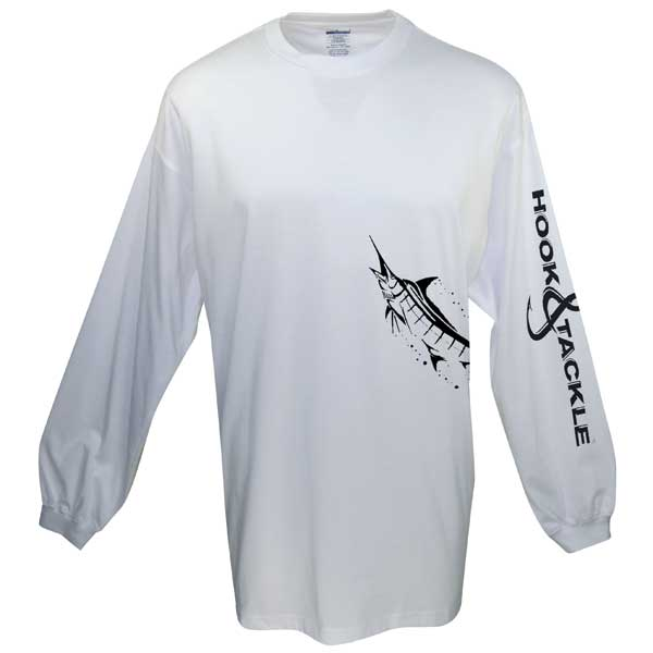Men's Marlin Wrap Long-Sleeve Tech Tee, White, M