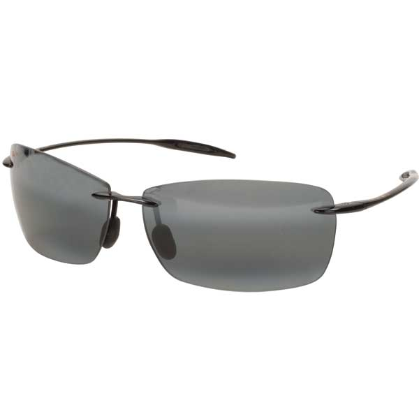 Maui Jim Lighthouse Sunglasses, Glossy Black/gray Frames with Neutral Gray Lenses