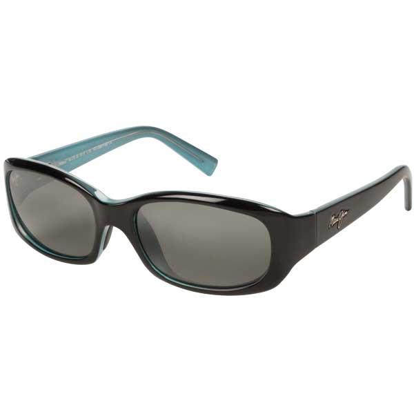 Maui Jim Women's Punchbowl Sunglasses, Black & Black/blue/gray Frames with Gray Lenses