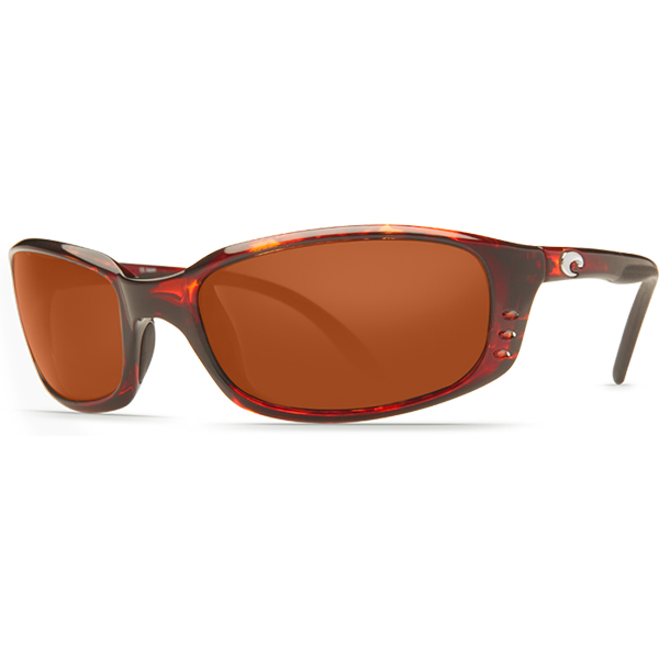 Brine Sunglasses, Shiny Tortoise Frames with Costa 580 Copper Plastic Lenses Brown