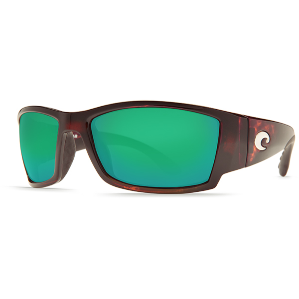 Corbina Sunglasses, Shiny Tortoise Frames with Costa 580 Green Mirror Glass Lenses